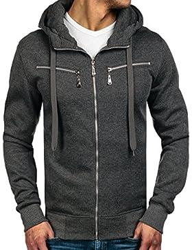 BOLF - Felpa - Pullover - Manica lunga – Maglione - Zip - Classic - Motivo - 1A1