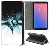Samsung Galaxy S5 Mini G800 Hülle Premium Smart Einseitig Flipcover Hülle Samsung S5 Mini G800 Flip Case Handyhülle Samsung S5 Mini Motiv (1130 Schmetterling Schwarz Türkis Weiß)