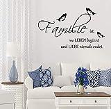 Wandschnörkel Wandtattoo AA447 FAMILIE ist wo Leben beginnt.Spruch Schmetterlinge Wanddekoration Wandaufkleber Wohnzimmer Farbe./Größenauswahl Wandaufkleber