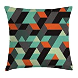 KLYDH Modern Decor Throw Pillow Cushion Cover, Geometric Print with Squares Triangles and Shadows Zig Zag Decorative Image, Decorative Square Accent Pillow Case, 18 X 18 Inches, Multicolor