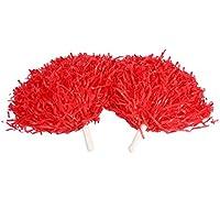 2pcs Cheerleading Pom Poms animadora pompones accesorios deportivos de baile, rojo
