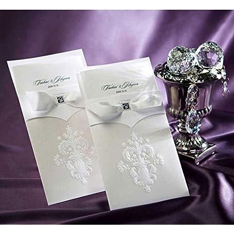 VStoy biglietti di inviti per matrimonio Avorio Fiore Partito Invito con busta e guarnizione 20pezzi