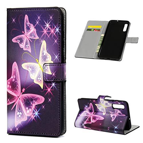 Kompatibel mit Samsung Galaxy A70 Hülle PU Lederhülle Flip Brieftasche Gemalt Muster Tasche Kartenhalter Magnetschnalle Ständer Stoßfest Kratzfest Stoßstange Schutzhülle Lila Schmetterling
