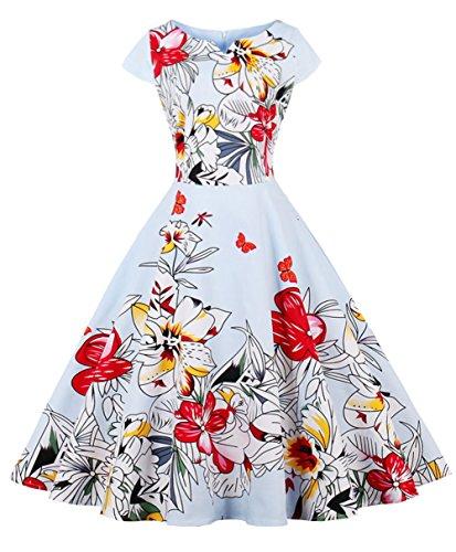 FAIRY COUPLE 1950S Retro Rockabilly Tupfen Kappen Hülsen Abschlussball Kleid DRT055(L,Blaue Blume)