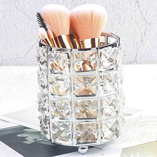 Yxsd Métal Maquillage Brush Tube De Rangement Crayon À Sourcils Maquillage Organisateur Perle Cristal Bijoux Boîte De Rangement (Couleur : Silver)