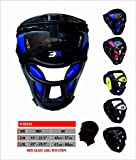 3XSports Grill Head Guard Bar Maya Hide Synthetic Rex Leather Boxing MMA Protector Headgear UFC Fighting Head Guard Sparring Helmet (Blue, Large / X-Large)