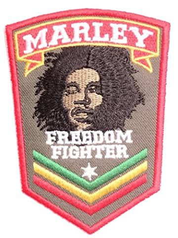 Bob Marley Rasta Freedom Fighter Sgt Jah Army Sew On Embroidered Badge Embroidered Sew On Sew On Embroidered Patch 8 CM