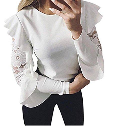 Bekleidung Longra Damen blusen Elegant Festive Lovely Flower Blouse Lace Long Sleeved T-Shirt Shirt Blouse