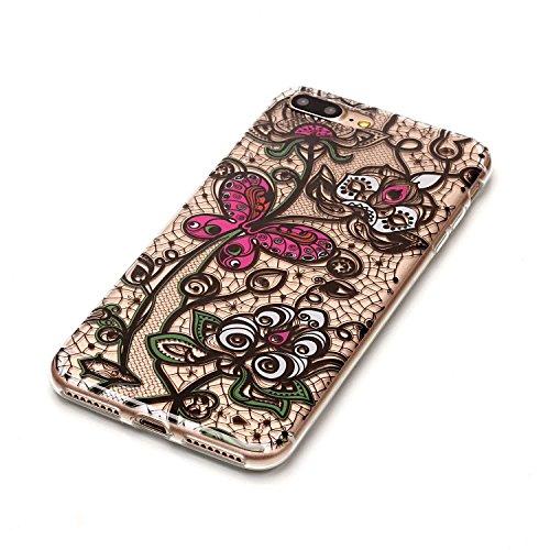 Coque iPhone 7 Plus, Étui iPhone 7 Plus, iPhone 7 Plus Case, ikasus® Coque iPhone 7 Plus Étui Housse avec Mandala Fleur Papillon Hibou Couleur peinte Transparent TPU Silicone Étui Housse Téléphone Cou Papillon et fleur