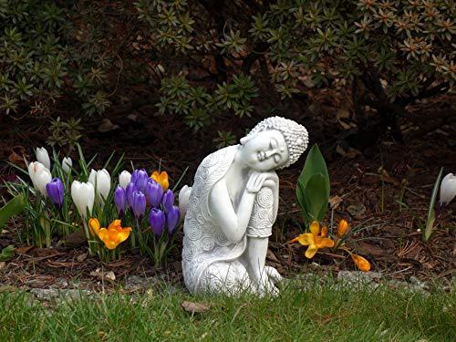 gartendekoparadies.de Schöner Stein Buddha knieender Mönch Links aus Steinguss, frostfest