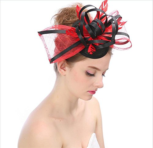 Kopfschmuck Schmetterling Knoten Flachs Garn Jacquard Braut Hüte Aristokratie Elegante Damen Caps , D (Stirnband Birdcage)