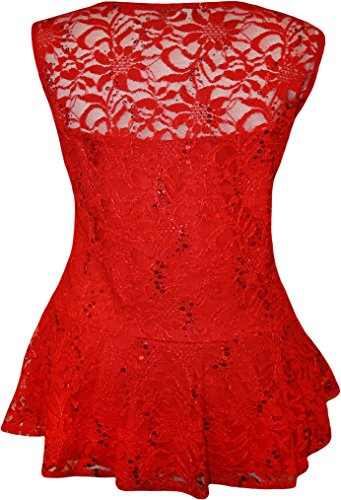 WearAll - Grande taille dentelle paillettes débardeur top sans manches avec volant de péplum - Hauts - Femmes - Tailles 44 à 54 Rouge
