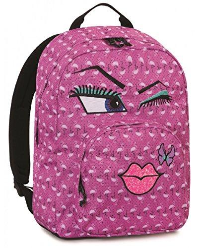 Rucksack INVICTA-OLLIE PACK Face-Fuchsia Fantasy Kuss-PC-Padded Tasche-Amerikanische 25lt