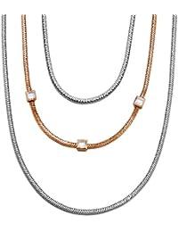 Esprit - Conjunction Bicolor - Collier avec Pendentif Femme - Acier inoxydable 41 gr - Cristal - Oxyde de zirconium  75 cm