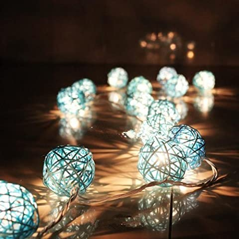 SROVFIDY 20 LED Rattan Ball Fairy String Lights Patio Lighting for Outdoor, Gardens, Homes, Wedding, Christmas Party