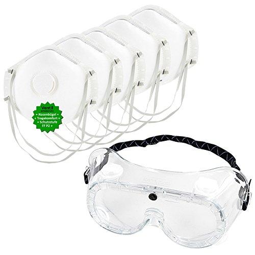 Schutz-Set bestehend aus Vollsichtbrille (auch geeignet für Brillenträger) + 5 Stück P2 Atemschutz-Masken - Mundschutz gegen Sprühnebel, Staub, Feinstaub. Persönliche Schutzausrüstung zum Ausbringen von Pflanzenschutzmitteln, beim Renovieren, uvm. GREEN24 Profi Schutz
