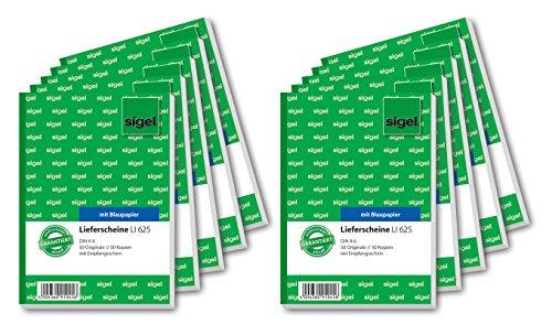 Sigel LI625/10 Lieferscheine mit Empfangsschein, A6, 10 Stück á 2x50 Blatt