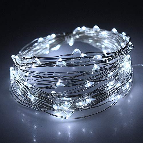 Toplife stringa luci led, impermeabile filo di rame di 8 modalità di luce, illuminazione decorazioni per natale, matrimonio, festa, casa, balcone (bianco)