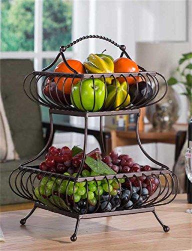 KKCFPAN Plaque de fruits à deux étages en métal Plaque de fruits à grande capacité à plateaux de fruits (couleur : Brass)