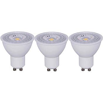 Bombillas LED GU10 7W COB 590 Lumen Equivalentes a 50 W Pack de 3 Unidades (Amarillo Cálida 3000K)