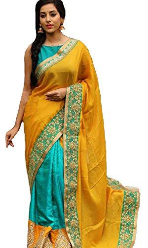 Clickedia Silk Saree (Nx Blue Orange Saree_Blue Yellow)
