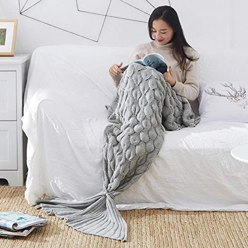 Bunte handgemachte gestrickte Meerjungfrau-Schwanz-Decke Erwachsene/Kind/Baby Meerjungfrau-Decke Stricken Kaschmir-wie Fernsehsofa-Kinderdecke für Betten, H, 70x140cm - Stricken-krankenhaus-bett