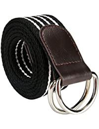 3f91c0ac49a Ayliss Men s Double D-ring Stripes Canvas Belt PU Leather Trimming Casual  Belt