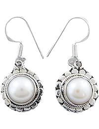 925 Sterling Silver Earrings Pearl Gemstone Earrings Dangle New Fashion Indian Jewellery Gift For Women