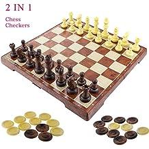 """Fixget 2 in 1 Chess Set-12 """"X12"""" scacchi in legno e pedine set con portatile pieghevole interno di archiviazione di viaggio scacchi gioco Board"""
