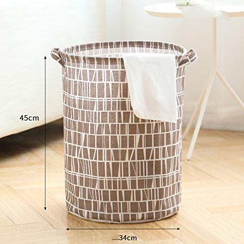 Gu3Je Household Large-Capacity Folding Cotton and Linen Dirty Clothes Storage Basket Brown and White Plaid 45x34cm (E-mail Red Sorter)