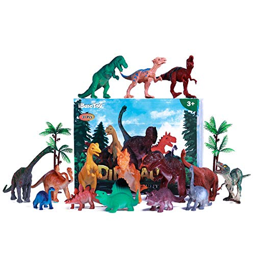 iBaseToy 31 Stücke Dinosaurier Spielzeug Enthält 15 Stücke Dinosaurier Figuren und eine Karte, Dinosaurier Party Dino Party Spielzeug für Kinder - Dinosaurier-spielzeug Für Kinder
