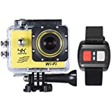 "Andoer Yellow, Russian Federation: RU Stock 4K Camera 2"" LCD Screen Wifi Action Camera 16MP 4X Zoom Sports Camera 170 Wide-angle Waterproof 30M With Remote Control"