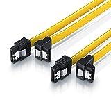 CSL - 2 x 0,5m S-ATA III Kabel | Flachkabel Premium HDD / SSD Datenkabel | 1x Stecker gerade zu 1x Stecker 90° | 1,5 GBs / 3GBs / 6GBs | schnelle, sichere und störungsfreie Datenübertragung | Verriegelungssystem für bessere Zugfestigkeit | abwärtskompatibel
