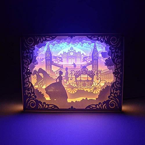 Paper-Cut Light Box, 3D Schatten 1.7W USB LED Nachtlicht, Kreative Lampe Art Decor Für Halloween Weihnachten -