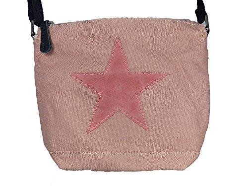Bunte Umhängetasche Canvas mit aufgenähtem Stern - Maße 26 x 22 x 8 cm - Damen Mädchen Teenager Tasche mit verstellbaren Schulterriemen - neue Frühjahrs Farben Rosa/Rosa