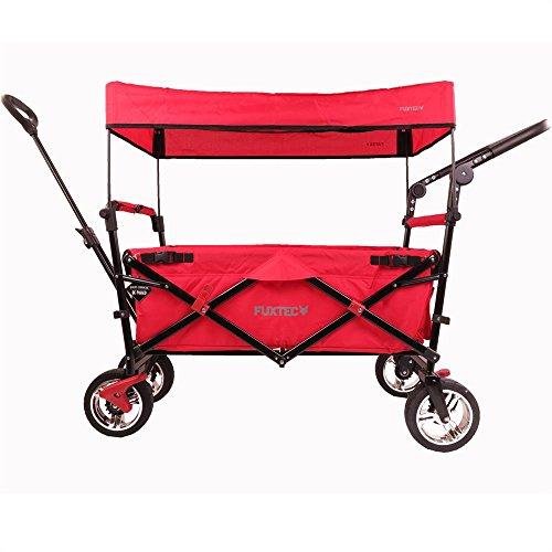 Fuxtec Faltbarer Bollerwagen FX-CT700 Rot klappbar mit Dach, Vorder- und Hinterrad-Bremse, Vollgummi-Reifen, Schubbügel, für Kinder geeignet - Das Original !