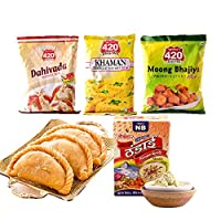 DelightFoods Holi Party Pack - Gujiya 400g, Dahi Vada 500g, Khaman 500g, Moong Bhajia 400g, Badam Thandai 200g & 3 Colours