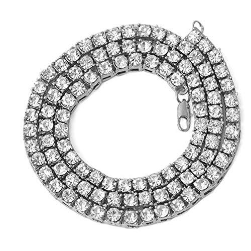 Halskette, Geschenke für Mütter, Frauen, Mädchen, Herren, Hip-Hop-mehrschichtige Tennis-Kette, Strass-Intarsien, Schmuck, Geschenk – Silber 61 cm, silber