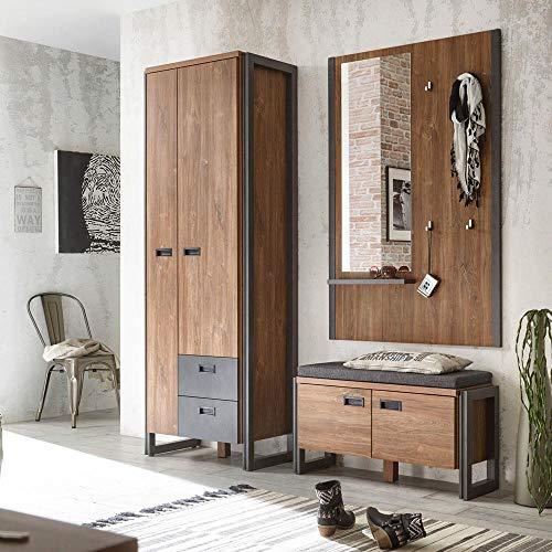 Lomadox Flur Garderoben Set im Industrial-Design  Stirling-Oak-Nb. mit schieferfarbenen Absetzungen...