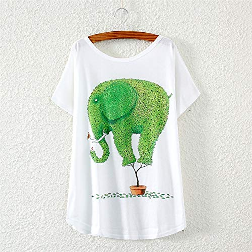KDFGUSOVM Modelos De Explosión Camiseta De Verano con Estampado De Elefantes con...