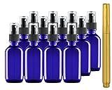 Culinaire 12 Pack 2 oz Blaue Glasflaschen mit Spray Tops und Gold Glas Stift