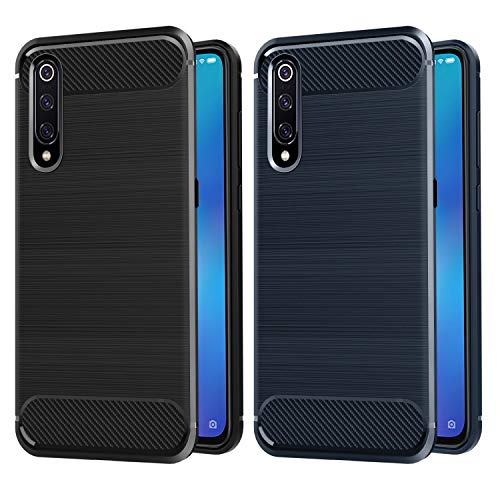 VGUARD [2 Stücke] Hülle Kompatibel für Xiaomi Mi 9, Carbon Faser Case Tasche Schutzhülle mit Stoßdämpfung Soft Flex TPU Silikon Handyhülle - (Schwarz+Blau) -