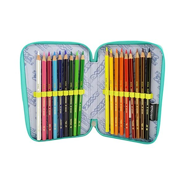 Seven Widget Estuche Escolar Làpices de Colores Plumier Triple para Ninos Violeta