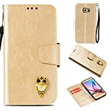 BoxTii Galaxy S6 Hülle, Galaxy S6 Schutzhülle, Fashion Design Premium PU Leder Case [mit Frei Panzerglas Displayschutzfolie] Anti Drop Etui für Samsung Galaxy S6 (Gold)