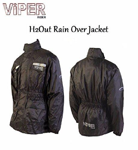 Viper H2Out Überjacke Motorrad Roller Touring wasserdicht Allwetter Unisex Reflektierende Pullover Regenjacke - Einfarbig Schwarz, 2XL/46