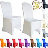 TtS 1 10 20 50 100 Stuhlbezug Stuhlhussen Stuhlüberzug Elastan / Lycra Gewölbte Front Hochzeit Event (100 pcs,weiß)