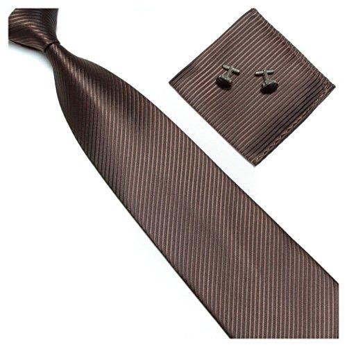 Streifenkrawatte Set Streifen Krawatte Einstecktuch Knöpfe Manschetten Hochzeit (Dunkelbraun)
