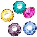 SiAura Material 50 Stück Glasperlen Großlochperlen Facettiert, 8x14mm, Bunt Mix