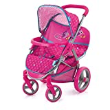 Hauck Zwillings- und Geschwister Puppenwagen Malibu Duo, feststellbare Fronträder, abnehmbarer Sicherheitsbügel, verstellbares Sonnendach, 360° Pirouetten Räder - Birdie Pink
