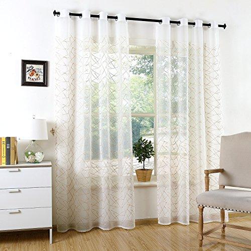 Tende transparente ricamate con occhielli per soggiorno camera parete porta finestra balcone, 2 pezzi (geometrica, 140 x 240 cm)